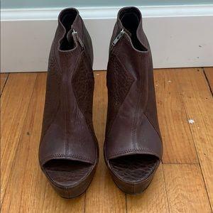 Brown peep toe ankle booties